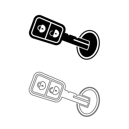 Set of Car Key icon on white background. Vector sign