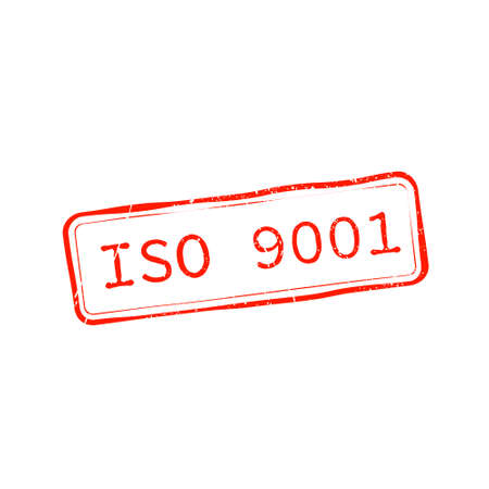 ISO 9001 Text Stamp effects on White Background. Vector element