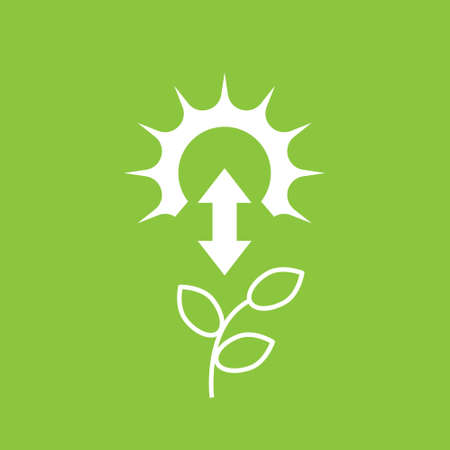 photosynthesis icon with sun and plant on green background, vector Vectores