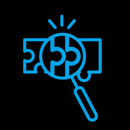 compatibility line icon, assemble puzzle pieces, solving problem. Vector illustration. Icon on black