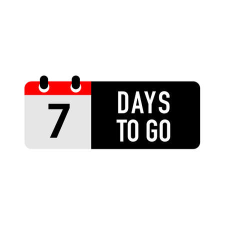 7 days to go last countdown icon. Seven day go sale price offer promo deal timer