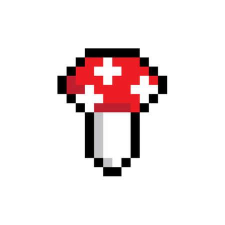 Pixel mushroom on cute 2d meadow. Vector