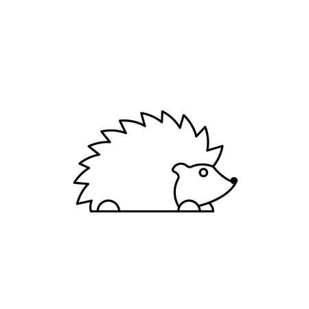 Modern line figure hedgehog. Vector outline hedgehog for web and design. Open path.