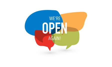 We're open again on speech bubble. Vector sign Vettoriali