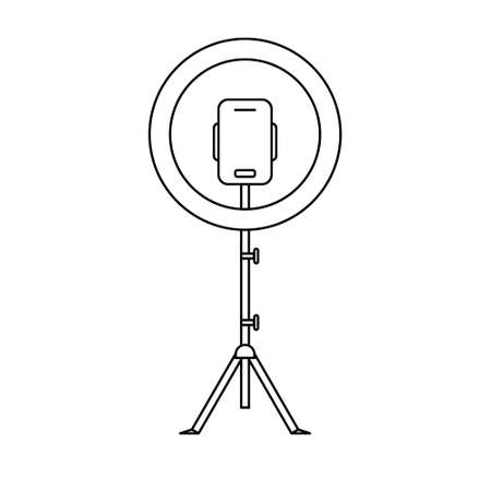 Led ring lamp on tripod with smartphone. Linear icon