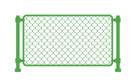 Green Chain link fence. Fences made of metal wire mesh on white background.
