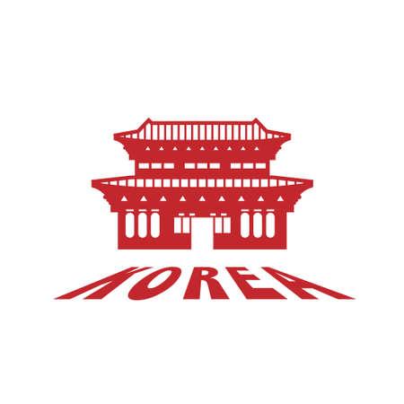 Korea famous landmark silhouette style, Korea text within, travel and tourism, vector illustration
