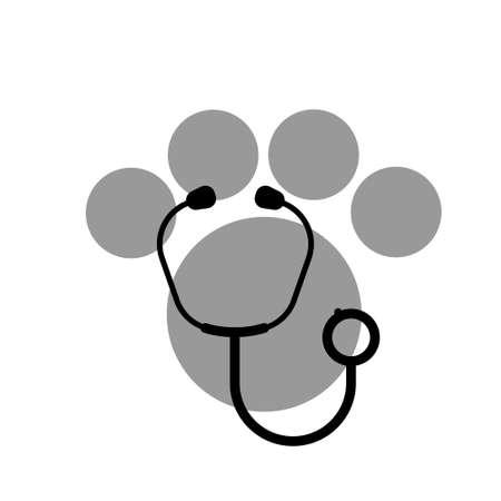 Stethoscope silhouette with animal paw print symbol. Veterinary medicine
