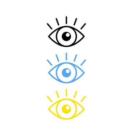 Set of color icon eye with eyelash on white background