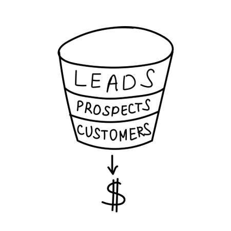 Hand drawing sales funnel business concept. Vector illustration Vettoriali