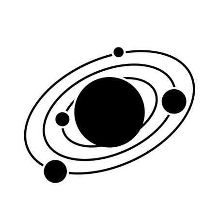 Solar system icon on white. The planets revolve around the star