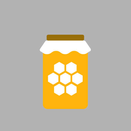 Vector image. Icon of a honey pot on white background. Vettoriali
