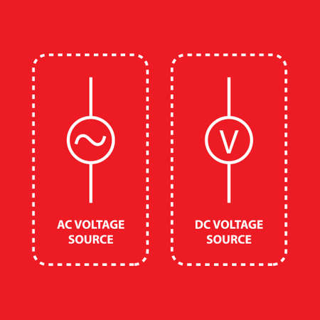 AC voltage source and dc voltage source icon on red background