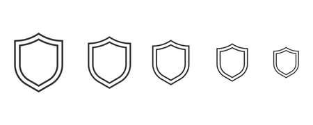 Set of Shield icon quarantine. Shield symbol vector sign. Corona virus
