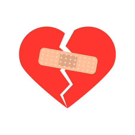 Broken heart shape with a bandage. Concept of love
