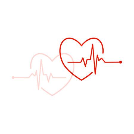 Red Heart Beat pulse   on white. Vector Vettoriali