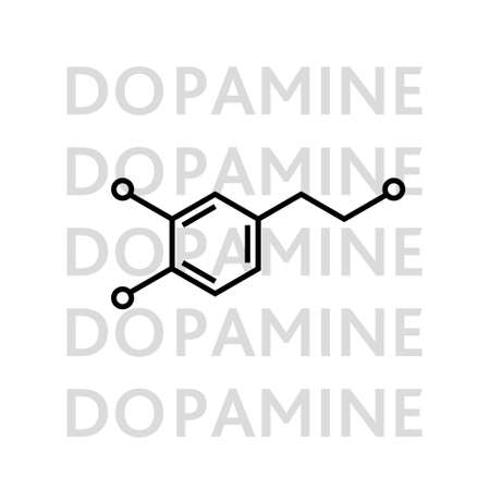 Dopamine molecular structure. neurotransmitter molecule. Skeletal chemical formula. Hormone of happiness and joy. Vector line illustration isolated on white. Vector
