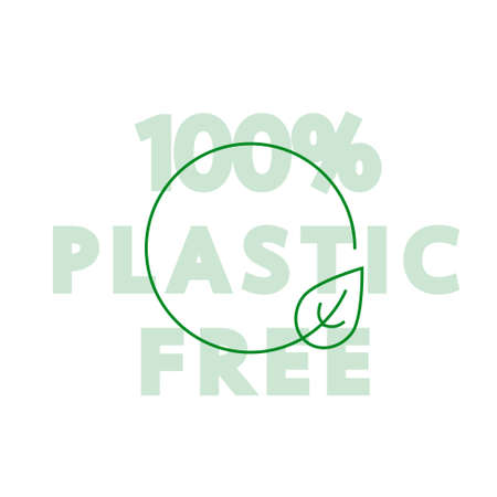 Vector icon and  design template in simple linear style - 100% plastic free emblem for packaging eco-friendly and organic products Vettoriali