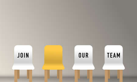 Job recruiting advertisement represented by 'JOIN OUR TEAM' texts on the chairs. Vettoriali