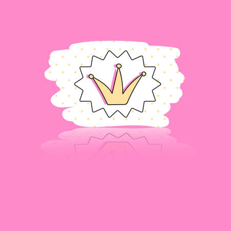 cute vector stickers. Bubble for text, princess crown Vettoriali