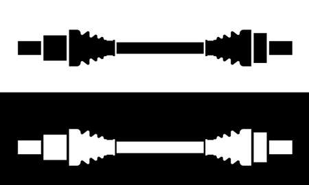 Set of Car Cardan drive shaft, toque and rotation transmitting mechanical component. Vector