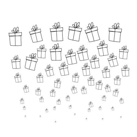 Christmas gift box doodle background. Hand drawn present with ribbon illustration. Valentines day