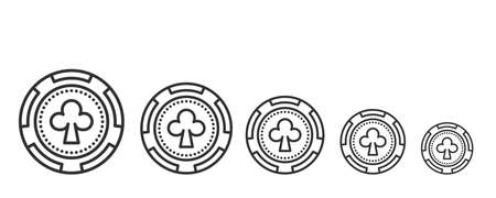 Set of Clubs Poker Chip linear icon on white. Stock vector Vettoriali