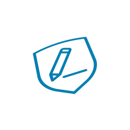 Icon vector graphic of shield pencil line on white background