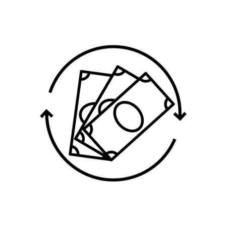 Refund money icon isolated on white background. Vector Vettoriali