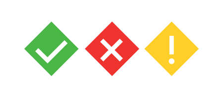 Check mark green, yellow exclamation sign and red wrong mark. Vector romb icon