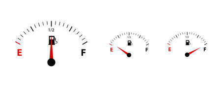 Fuel Set of uge Meter Empty, Half And Full - Vector Illustration - Isolated On White Background