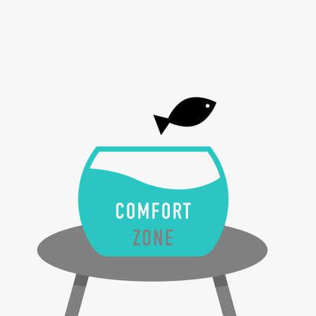 Aquarium and jumping fish, comfort zone concept. Simple black icon. Vector contour graphics