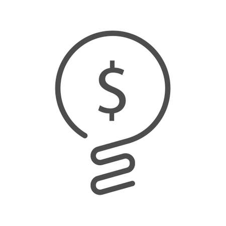 Vector icon. Light bulb with dollar symbol business concept.