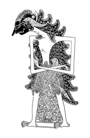 kulit: a protagonist figure of traditional puppet show, wayang kulit from java indonesia. Illustration