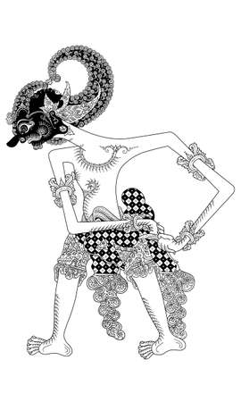 wayang: a character of traditional puppet show, wayang kulit from java indonesia. Illustration