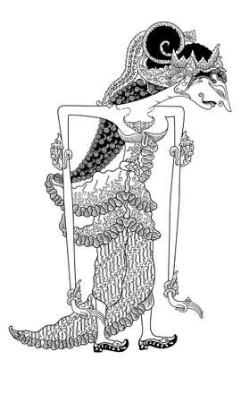 mahabharata: a character of traditional puppet show, wayang kulit from java indonesia. Illustration