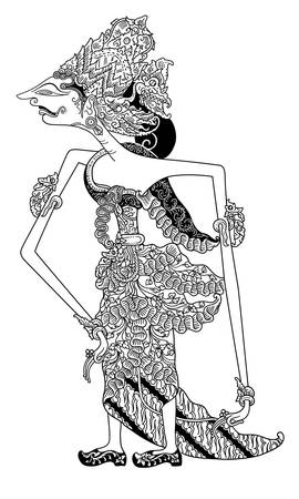 kulit: a character of traditional puppet show, wayang kulit from java indonesia. Illustration
