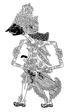 puppet show: a character of traditional puppet show, wayang kulit from java indonesia. Illustration