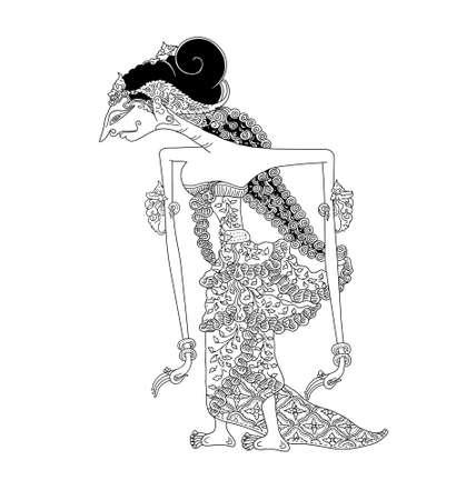 shadow puppets: Dewi Sri Illustration