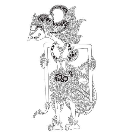 a character of traditional puppet show, wayang kulit from java indonesia. Illustration