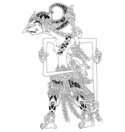 mahabharata: Gunadewa a character of traditional puppet show, wayang kulit from java indonesia.