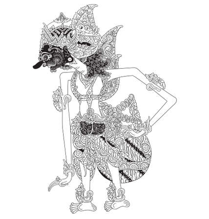 Hasti a character of traditional puppet show, wayang kulit from indonesia. Çizim