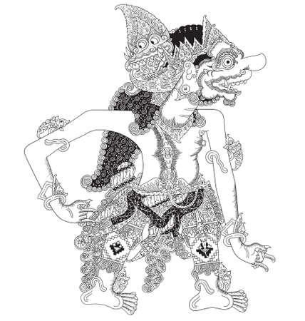 Kalantaka a character of traditional puppet show, wayang kulit from java indonesia. Illustration
