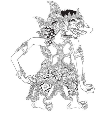 Kalayaksa a character of traditional puppet show, wayang kulit from java indonesia. Illustration