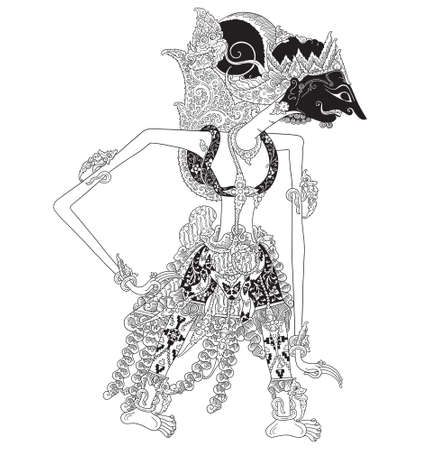 Kalmasapada a character of traditional puppet show, wayang kulit from java indonesia. Ilustrace