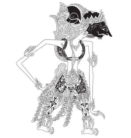 Kalmasapada a character of traditional puppet show, wayang kulit from java indonesia. Illustration