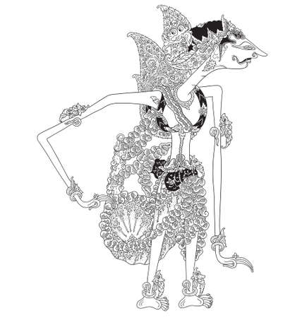 Kalimantara a character of traditional puppet show, wayang kulit from java indonesia. Illustration