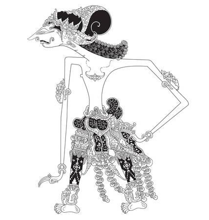 Kandihawa a character of traditional puppet show, wayang kulit from java indonesia.
