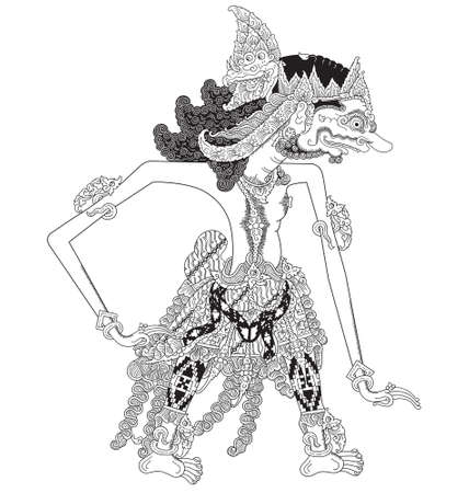 Kartapiyoga, a character of traditional puppet show, wayang kulit from java indonesia.
