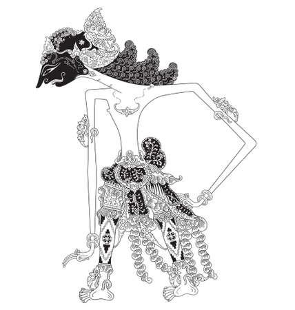 Kartanadi, a character of traditional puppet show, wayang kulit from java indonesia. Çizim